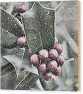 Snowy Holly Wood Print