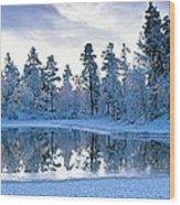 Snowy Lake Wood Print by David Nunuk