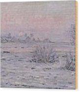 Snowy Landscape At Twilight Wood Print