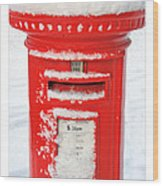 Snowy Pillar Box Wood Print