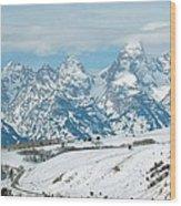 Snowy Tetons Wood Print