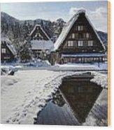 Snowy Village Wood Print