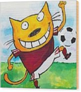 Soccer Cat 2 Wood Print by Scott Nelson