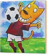 Soccer Cat 3 Wood Print by Scott Nelson