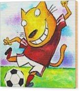 Soccer Cat Wood Print