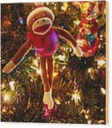 Sock Monkey Is In The Season Wood Print