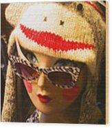 Sock Monkey Zebra Glasses Wood Print