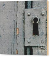 Soft Blue Door And Lock Wood Print