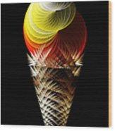 Soft Serve Ice Cream Citrus Swirl Wood Print