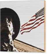 Soldier And Flag Wood Print