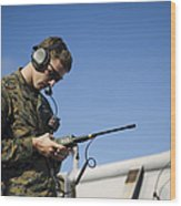 Soldier Conducts A Communications Check Wood Print