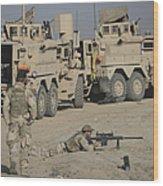 Soldier Fires A Barrett M82a1 Rifle Wood Print
