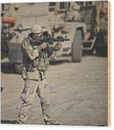 Soldier Fires A M4 Carbine Wood Print