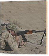 Soldier Fires A Russian Rpk Kalashnikov Wood Print