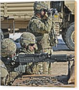 Soldier Firing A M240b Machine Gun Wood Print