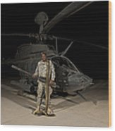 Soldier Holding A .50 Caliber Machine Wood Print