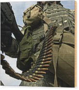 Soldier Mans A Vehicle Mounted 7.62 Mm Wood Print by Stocktrek Images