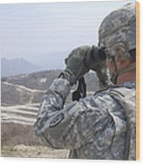 Soldier Observes An Adjust Fire Mission Wood Print