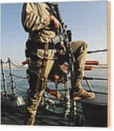 Soldier Stands Watch Aboard Uss Momsen Wood Print