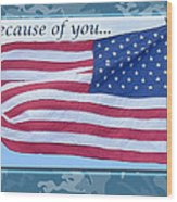 Soldier Veteran Thank You Wood Print
