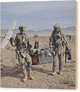 Soldiers Carry An Rq-11 Raven Unmanned Wood Print