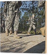 Soldiers Conduct A Ruck March At Fort Wood Print