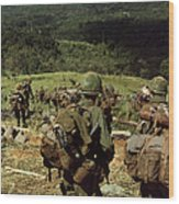 Soldiers Descend The Side Of Hill 742 Wood Print