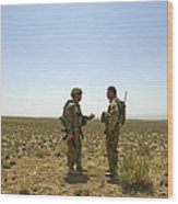 Soldiers Discuss, Drop Zone Wood Print