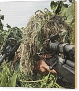 Soldiers Dressed In Ghillie Suits Wood Print