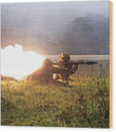 Soldiers Fire A Rocket Propelled Wood Print