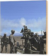 Soldiers Firing The M777 Howitzer Wood Print