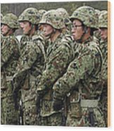 Soldiers From The Japan Ground Self Wood Print by Stocktrek Images