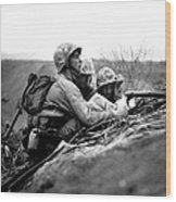 Soldiers Locate Enemy Position On A Map Wood Print
