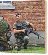 Soldiers Of The Belgian Army Helping Wood Print