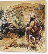 Soldiers On The Wall Wood Print