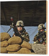 Soldiers Provide Security Wood Print
