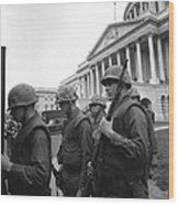 Soldiers Stand Guard Near Us Capitol Wood Print