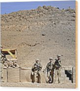 Soldiers Wait For Afghan National Wood Print