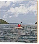 Solitary Man In Kayak Wood Print