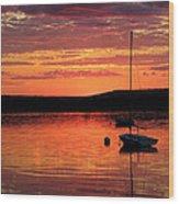 Solitary Sailboat At Sundown Wood Print