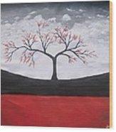 Solitary Tree-oil Painting Wood Print by Rejeena Niaz