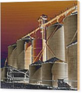 Soloized Grain Bins Wood Print