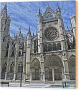 South Facade Of Leon White Gothic Wood Print