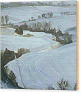 South Limburg Covered With Snow Wood Print