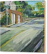 South Main Street Train Crossing Wood Print