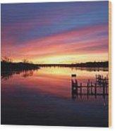 South River Sunrise Wood Print