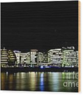 Southbank London At Night Wood Print