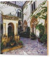 Southern Italy Villa Courtyard  Wood Print