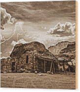 Southwest Indian Rock House And Lightning Striking Wood Print by James BO  Insogna