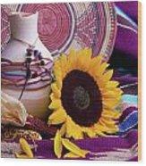 Southwestern Still Life With Sunflower Wood Print